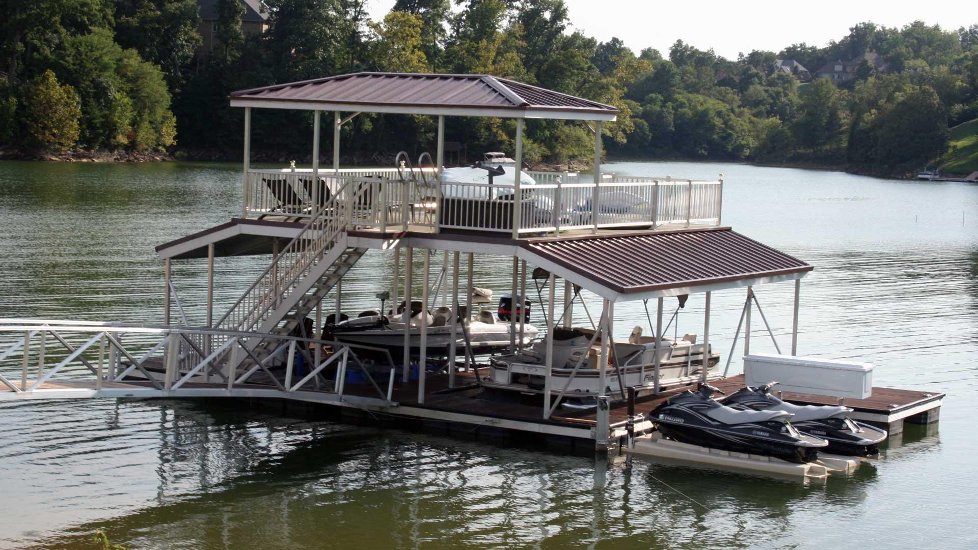 aluminum dock sundeck combo with cabana