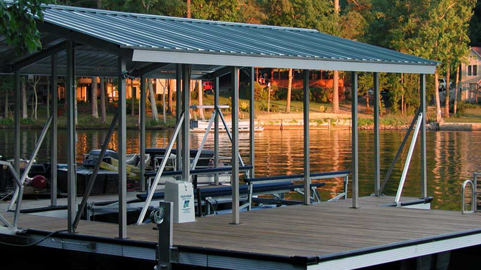 aluminum dock gable roof