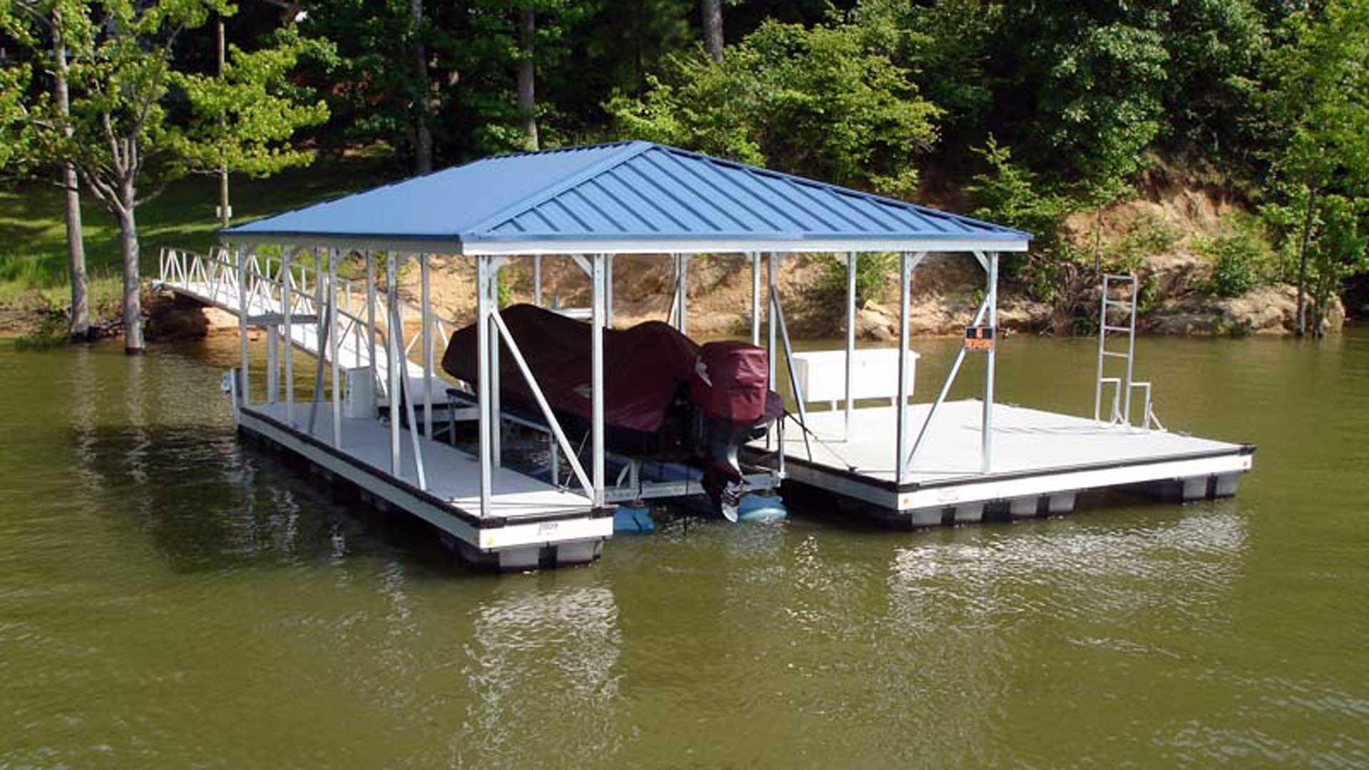 aluminum dock hip roof