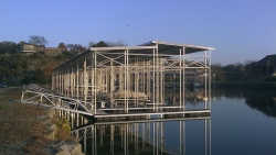 commercial aluminum dock with custom roof