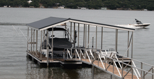 Gable roof dock with dock roofing