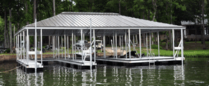 hip roof dock with dock roofing