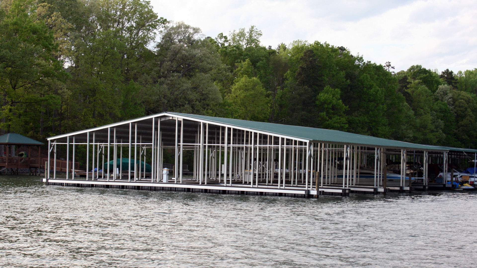 Commercial Gable Aluminum dock with power pedestals