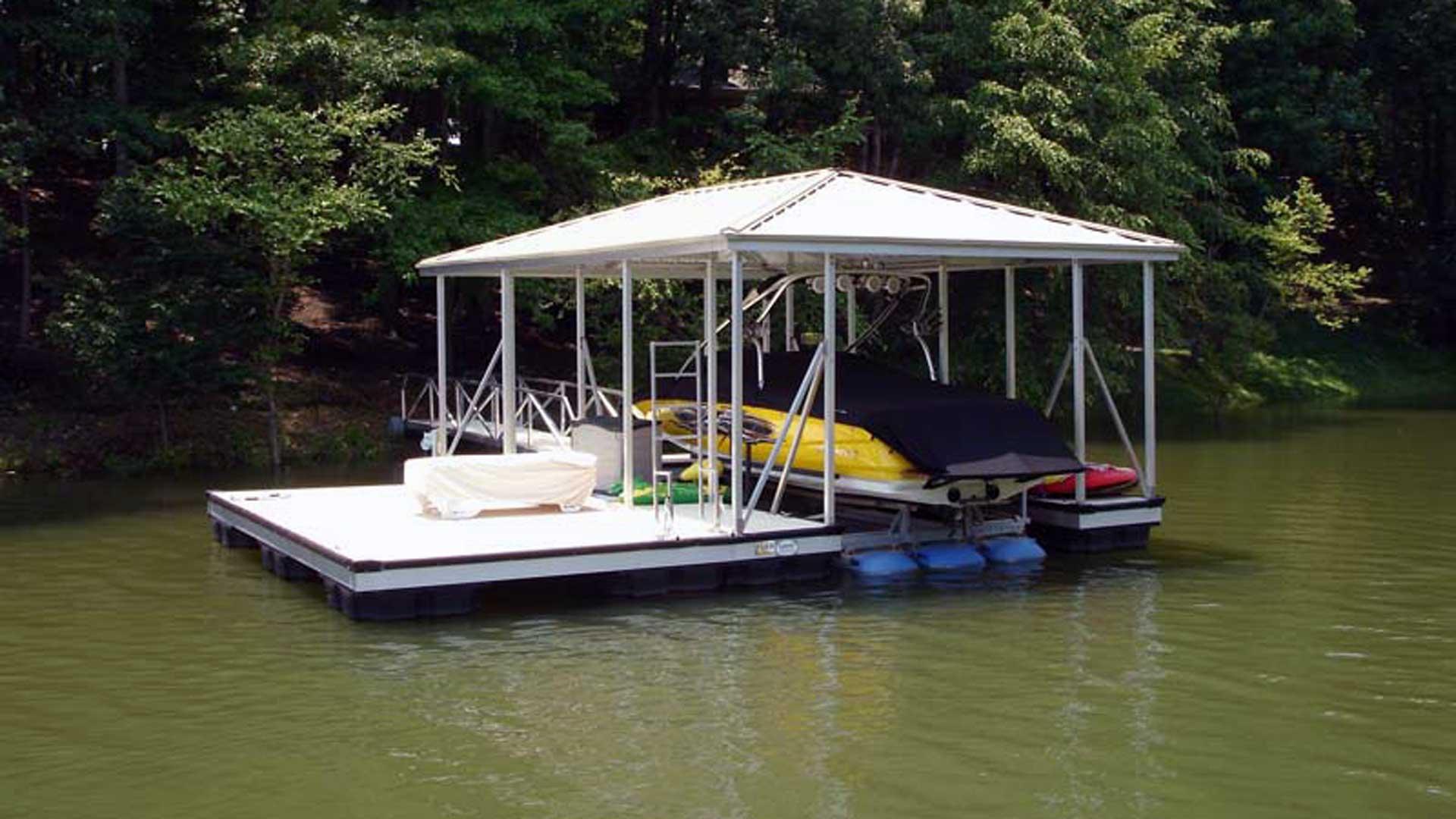 X-9 aluminum dock hip roof