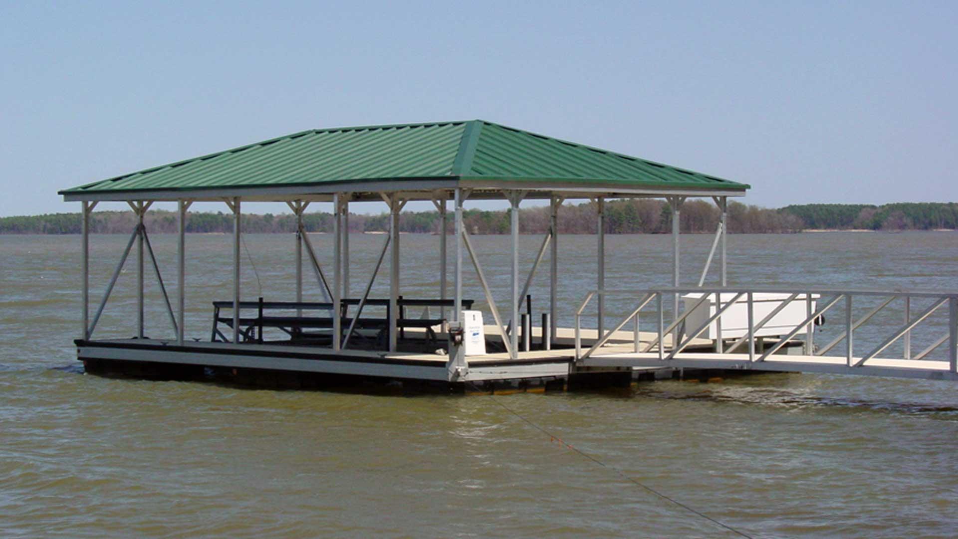 aluminum dock hip roof