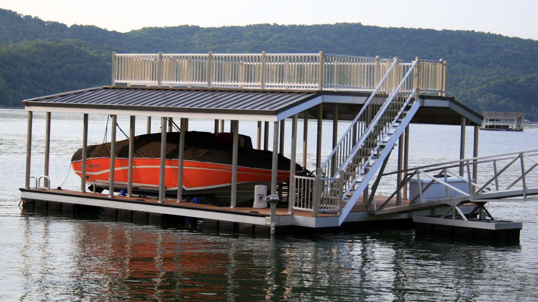 X-9 aluminum dock sundeck combo